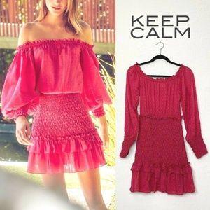 Alexis Marilena Dress Pink Polka Dot Smocked Mini
